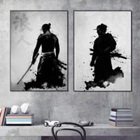 animaux de verre modernes achat en gros de-Noir et blanc Toile Mur Art Samouraï Japonais Art Peinture Karaté Mur Décor Toile Affiche pour Salon Chambre Décoration de La Maison