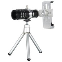 Wholesale telescope for cell phone for sale - Group buy 12X Zoom Camera Telephoto Telescope Lens with Phone Clip Tripod Stand for Universal Cell Phones Colors
