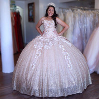 Wholesale big flower prom dresses resale online - Sweet Sparkle Light Pink Ball Gown Quinceanera Dresses New Sweetheart Appliques Hand Made Flowers Big Bow Back Long Evening Prom Gowns