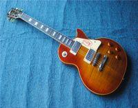cosecha de caoba al por mayor-Envío gratis Custom Shop 1959 Jimmy Page Number Two JP No. 2 Vintage Sunburst Guitarra eléctrica Cuerpo de caoba, Flame Maple Top Chapa, Chrome