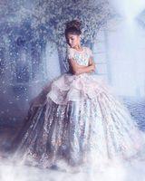 vestido organza flores venda por atacado-Sheer Flor do pescoço da menina Vestidos de organza Meninas Pageant Dresses Lace Applique Princesa Crianças da flor do casamento Vestidos frisada Vestidos menina