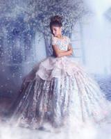 organza real venda por atacado-Sheer neck flor menina vestidos de organza meninas pageant vestidos de renda applique princesa crianças vestidos de casamento da menina frisado da flor vestidos