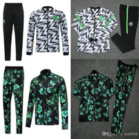 Wholesale green football jackets resale online - 2018 Nigeria Tribute Men Jacket Soccers jacket Nigeria Green Trainings Tracksuit Nigerian Footballs Suits coat