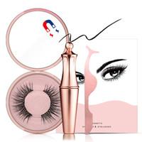 Wholesale lash extensions kits for sale - Group buy Magnetic Liquid Eyeliner False Eyelashes Kit with Tweezer Magnets lashes Natural Eyelash Extensions Set Make Up Tools