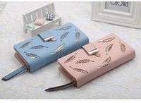 namenskartenentwurf großhandel-Damenbrieftasche professionelles Design neue mehrfarbige Markennamen Hohlblatt-Handtasche Mode lange PU-Mappenkartenpaket