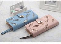 ingrosso cavità portafogli nuovi donne-Design professionale portafoglio donna nuovo multi-color di marca pochette a foglia cava moda lunga PU pacchetto di carte portafoglio