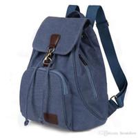 moda bayan laptop çantası toptan satış-Moda Tuval Kadın Sırt Çantası Çanta Casual Saf Renk Seyahat Çantası Vintage Büyük Kapasiteli Lady Okul Çantası Laptop Çantası