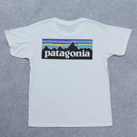 белые футболки оптовых-Любители летние футболки с коротким рукавом модный бренд уличная одежда белые футболки PATAGONIA мужские женские принты топы одежда скейтборд