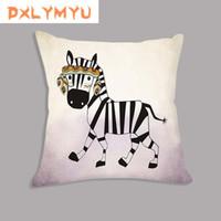 almofadas de impressão de zebra venda por atacado-Quadrado Fronha Throw Pillow Case Capa de Almofada Macia Estilo Animais Almofada Girafa Zebra Impressão Decorativa