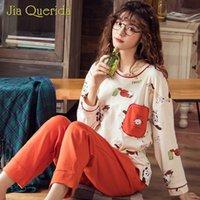 pijamas laranja mulheres venda por atacado-Pijamas das mulheres de Manga Longa de Algodão Sono Roupas Em Torno Do Pescoço Laranja Calças Sólidas Primavera Outono Bonito Impressão Pijama Mulheres Pijama Set