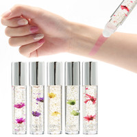 Wholesale Lips - HANDAIYAN Temperature Change Color Flower Lipstick Moisturizer Clear Gold Foil Matte Liquid Lipstick Lips Plumper Lip gloss
