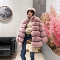 zarif palto avrupa toptan satış-Zarif kadın Avrupa Birleşik Devletleri ceket standı yaka kürk kız uzun kadınlar için sahte tilki kürk kürk