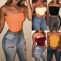 chalecos sexy para las mujeres al por mayor-Blusa chaleco sólido sin mangas sexy para mujer Blusa sin mangas Camisa corta de verano Cami Top