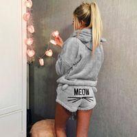 ingrosso pigiami di gatto-Le donne inverno Breve pigiama con cappuccio Pajama Set Designer con cappuccio Cat Shorts stampano i pantaloni Outfits causali Pigiama copre gli insiemi Home Abbigliamento