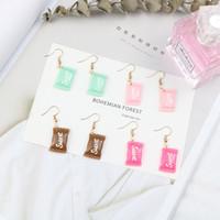 brincos pendentes venda por atacado-Cweet Macaron color Candy Dangle Earrings Brincos engraçados para meninas