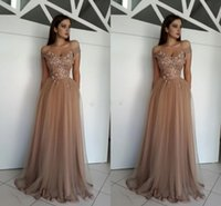 kahverengi elbise taban uzunluğu toptan satış-Omuz Kapalı zarif Gelinlik Modelleri Çiçekler Inci Tül Kat Uzunluk Kahverengi Örgün Abiye Fermuar Parti Abiye