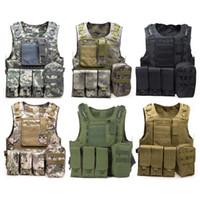 Wholesale tactical vests molle resale online - Camouflage Tactical Vest CS Army Tactical Vest Wargame Body Molle Armor Outdoors Equipment Colors D nylon