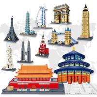 modelo de templo al por mayor-Bloques de diamantes Arquitectura de fama mundial Templo del cielo de Pekín Mini bloques de construcción modelo 3D DIY Ensamblaje Ladrillos Juguetes