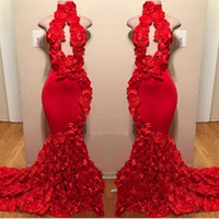 Wholesale handmade flowers mermaid prom resale online - Red High Neck Prom Dresses Sexy Handmade Flowers Mermaid Evening Gowns Count Train Black Girls African Formal Wear Backless Party Dress