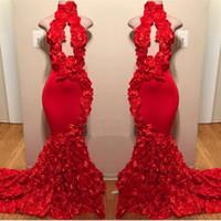 rotes hohes nacken-backless abschlussballkleid großhandel-Red High Neck Prom Kleider Sexy Handmade Blumen Meerjungfrau Abendkleider zählen Zug schwarz Mädchen afrikanische formelle Kleidung rückenfreies Partykleid
