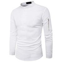 ingrosso camicetta nera di modo coreana-Mezza bottoni Hip Hop Maschile Colletto Stand Moda Zipper Sleeve Slim Blouse Camicia stile coreano 2XL Bianco Colore nero Pop Tide