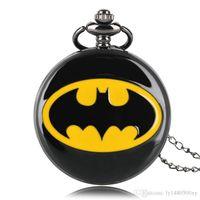 cadenas de batman al por mayor-Superhéroe Moda Negro Batman Cuarzo Reloj de Bolsillo Collar de Cadena Casual Número Romano Joyería Suave Colgante Regalos de Lujo para Hombres Mujeres niños