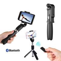pau selfie großhandel-3 in 1 drahtloser Bluetooth Selfie Stick Mini Stativ Ausziehbare Einbeinstativ allgemeinhin für iPhone XR X 7 6s Plus-Pau De Palo
