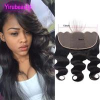 indio de encaje al por mayor-Indian Virgin Hair 13X6 Frontal de encaje pre-desplumado Body Wave 13 * 6 Cierre Color natural Yirubeauty Lace Frontal Hair Products