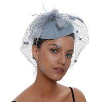 дозатор оптовых-Шляпы Fascinator для женщин Pillbox Hat Net Фасинаторы Фата Ободок и заколка для волос Чаепитие Головные уборы
