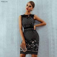 zarif seksi üniforma elbise toptan satış-Yeni Yaz Bandaj Elbise Zarif Siyah 2019 Dantel Hollow Out Seksi Bodycon Kadınlar Elbise İmparatorluğu Ünlü Kulübü Akşam Parti Elbiseler