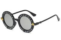 Wholesale alloy rims black resale online - Fashion Bee Sunglasses Punk Designer Sunglasses For Women And Men Vintage Round Letter Frame Plastic Rim Eyewear