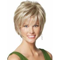 seksi kadın sarışın saç toptan satış-Moda peruk yeni seksi kadın kısa sarışın doğal saç peruk