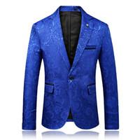 vestidos de casamento casacos venda por atacado-Homens Slim Fit Blazers revestimentos inteligentes Suits Casual Jackets Nova Moda Homens flor azul Blazers Mens Wedding Dress Coats Tamanho 3XL