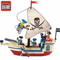 ingrosso illumina i giocattoli da costruzione in mattoni-Enlighten 188Pcs Pirati Dei Caraibi Mattoni Bounty Pirate Ship Compatibile LegoINGLY City Building Blocks Imposta Giocattoli per Bambini