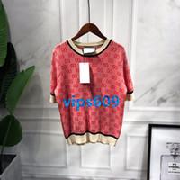 t-shirt gedruckter name großhandel-High-End Frauen Mädchen Kurzarm Rundhals-Shirt mit Buchstaben mit Streifendruck Kurzarm-T-Shirt Top-T-Shirt Big Name Gleicher Absatz