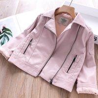 pu jacken für kinder großhandel-Lederjacken für Mädchen-PU-Jacken-Mantelkinder Kleidung Babyoberbekleidung Kinder rosa schwarz Herbst rot Mode Frühjahr