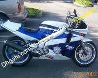satış sonrası motosiklet plastikleri toptan satış-Mavi Beyaz Motosiklet Honda CBR400RR Için Set NC23 CBR400 RR CBR 400RR 1987 1988 1989 ABS Plastik Kaporta Cowling Aftermarket Kiti