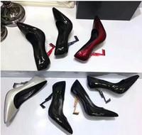 ingrosso cinghie di caviglia tacchi di vernice nera-Scarpe da donna di lusso Colourful Décolleté Décolleté in pelle verniciata Scarpe da sposa rosse nere Sandali con tacco alto Sandali con cinturino alla caviglia