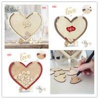 coeurs rustiques achat en gros de-100 pcs coeurs unique décoration de mariage rustique doux mariage livre d'or coeur boîte de dépôt de mariage boîte de dépôt 3D livre d'or