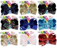 çocuklar saç dökülmesini bling toptan satış-8 inç Jojo Glitter Mermaid Çevirme Pullu Büyük Yay Firkete Bebek Kız Degrade Renk Tokalarım Çocuk Bling Saç Klip Saç Aksesuarları sıcak A21503