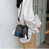 bolso de hombro de tweed coreano al por mayor-Versión coreana de tweed de estilo nacional con bolsos inclinados y bolsos de un hombro
