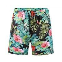plaj pantolon desen toptan satış-Yeni Yaz plaj pantolon erkek tasarımcı şort Rahat Marka erkek Çabuk kuruyan pantolon Moda çiçekler ile desen Diz Boyu kısa pantolon