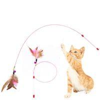 качественные мягкие игрушки оптовых-Высокое качество Cat игрушки мягкие красочные Cat перо колокол стержень игрушка для котенка смешно играть интерактивные игрушки Зоотовары