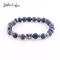загадки головы будды оптовых-WML Leopard Lion Head Owl charms Buddha  Men yoga bracelet Natural Stone Bracelets Bangles for Women Jewelry