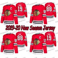 camisetas negras de blackhawks al por mayor-88 Patrick Kane 2019-20 Chicago Blackhawks 19 Hombres Mujeres Jóvenes Jonathan Toews Jersey del hockey de envío gratuito Red