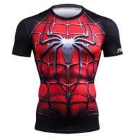 camiseta cosplay al por mayor-Camisa de fitness Hombres Ropa deportiva Camiseta para correr Deporte Gimnasio Camiseta Avenger 3 Superhéroe Hombre araña Crossfit Tops Cosplay