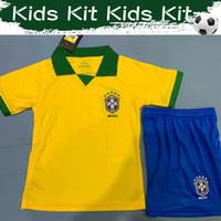 traje amarillo para niño al por mayor-2020 Kids Kit Soccer Jersey Brasil Inicio Amarillo Camisetas de fútbol 19/20 # 20 FIRMINO # 9 G.JESUS # 14 MILITAO Trajes de fútbol infantil con pantalones cortos