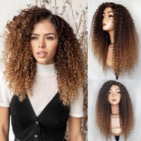Wholesale kinky curly lace front closure for sale - Group buy Ombre brown blonde Lace Front closure Wig Brazilian Kinky Curly Human Hair Wigs for Women Remy Hair u part Lace Wigs
