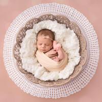 accesorios de fotografía recién nacido de la vendimia al por mayor-150 * 45 cm bebé recién nacido Accesorios de fotografía Textura de lino Algodón Tela tejida Tela tejida Color sólido Fondo de la vendimia