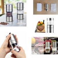Wholesale salt spice grinder resale online - Stainless Steel Manual Salt Pepper Mill Grinder Portable Kitchen Mill Muller Home Kitchen Tool Spice Sauce Grinder Pepper Mill GGA367